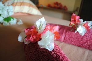 La Case du Pecheur Guesthouse - Double bedroom with towel ad flower deco